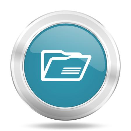 folder icon: folder icon, blue round metallic glossy button, web and mobile app design illustration Stock Photo