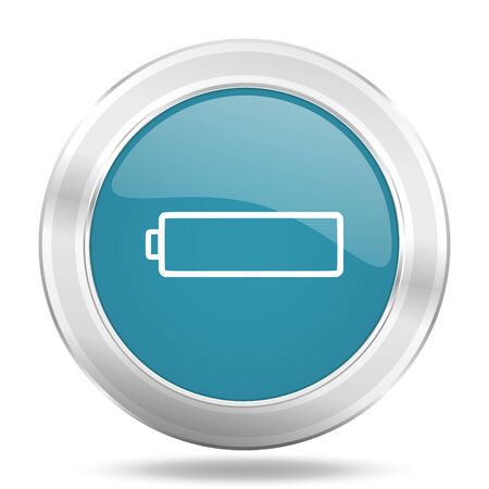 accuse: battery icon, blue round metallic glossy button, web and mobile app design illustration