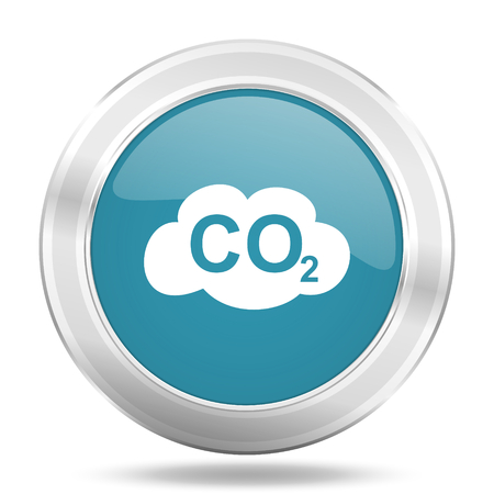 dioxido de carbono: carbon dioxide icon, blue round metallic glossy button, web and mobile app design illustration