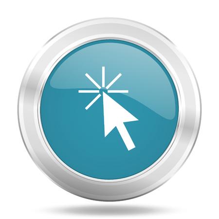 klik: klik hier pictogram, blauw ronde metalen glanzende knop, web en mobiele app ontwerp illustratie Stockfoto