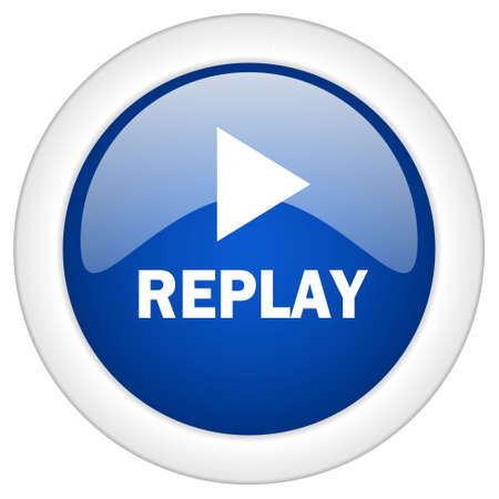proceed: replay icon, circle blue glossy internet button, web and mobile app illustration