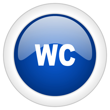 toilette: toilet icon, circle blue glossy internet button, web and mobile app illustration