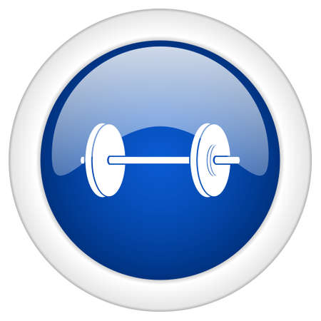 circular muscle: fitness icon, circle blue glossy internet button, web and mobile app illustration