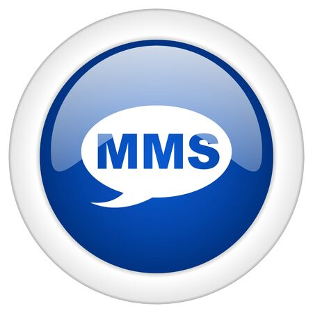 mms icon: mms icon, circle blue glossy internet button, web and mobile app illustration