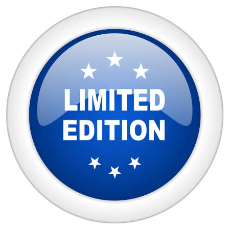 limited edition: limited edition icon, circle blue glossy internet button, web and mobile app illustration