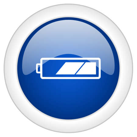 alkaline: battery icon, circle blue glossy internet button, web and mobile app illustration Stock Photo