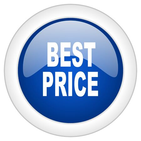 best price icon, circle blue glossy internet button, web and mobile app illustration Stock Photo