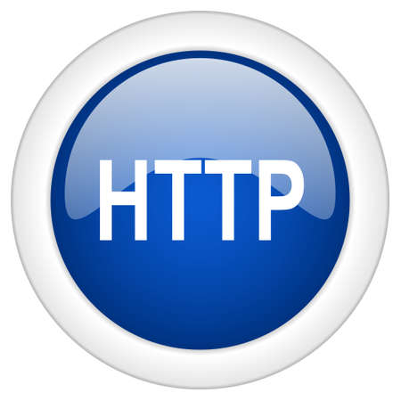 http: http icon, circle blue glossy internet button, web and mobile app illustration