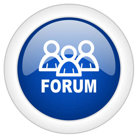 www community: forum icon, circle blue glossy internet button, web and mobile app illustration