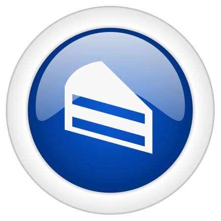 www tasty: cake icon, circle blue glossy internet button, web and mobile app illustration