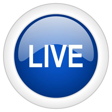 live stream tv: live icon, circle blue glossy internet button, web and mobile app illustration