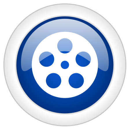 watch movement: film icon, circle blue glossy internet button, web and mobile app illustration Stock Photo