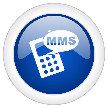 mms: mms icon, circle blue glossy internet button, web and mobile app illustration