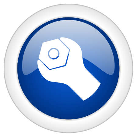 tools icon: tools icon, circle blue glossy internet button, web and mobile app illustration