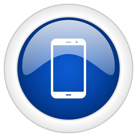 phone symbol: smartphone icon, circle blue glossy internet button, web and mobile app illustration