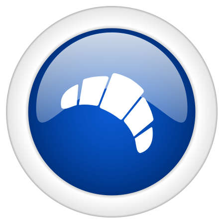 www tasty: croissant icon, circle blue glossy internet button, web and mobile app illustration
