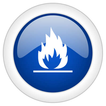 blue flame: flame icon, circle blue glossy internet button, web and mobile app illustration