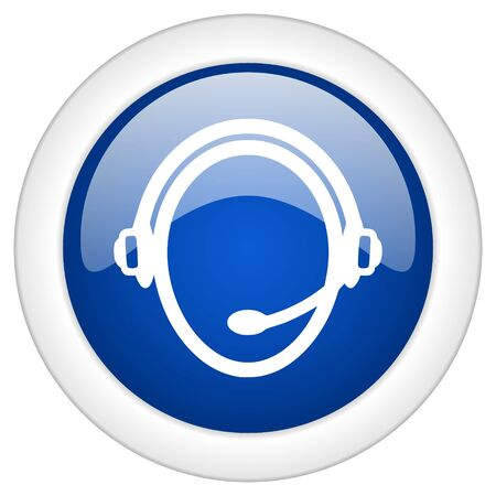 mobile internet: customer service icon, circle blue glossy internet button, web and mobile app illustration