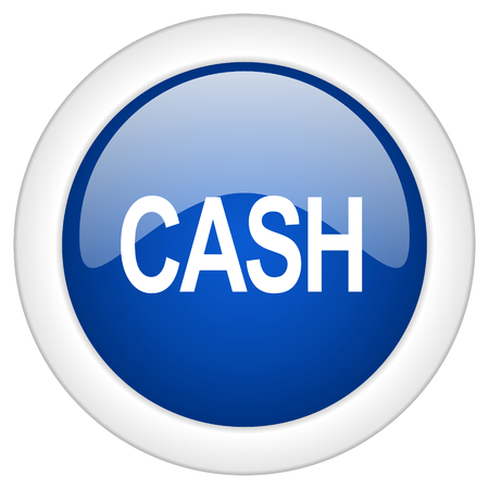 blue circle: cash icon, circle blue glossy internet button, web and mobile app illustration