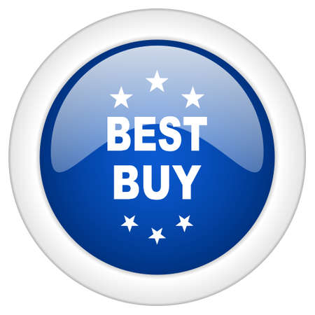 best buy: best buy icon, circle blue glossy internet button, web and mobile app illustration Stock Photo