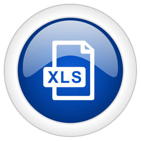 xls: xls file icon, circle blue glossy internet button, web and mobile app illustration Stock Photo