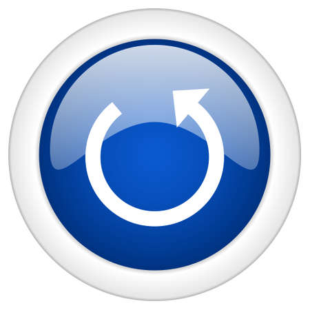 rotate: rotate icon, circle blue glossy internet button, web and mobile app illustration