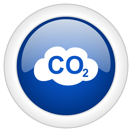 carbon dioxide: carbon dioxide icon, circle blue glossy internet button, web and mobile app illustration Stock Photo