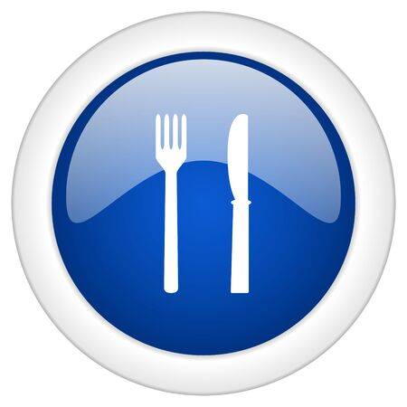 cater: eat icon, circle blue glossy internet button, web and mobile app illustration Stock Photo