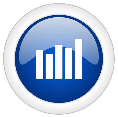 mobile internet: graph icon, circle blue glossy internet button, web and mobile app illustration