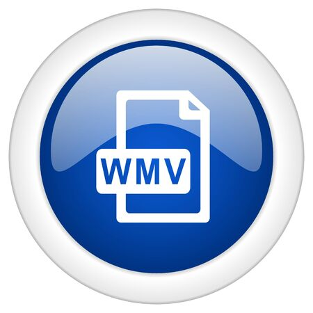 wmv: wmv file icon, circle blue glossy internet button, web and mobile app illustration