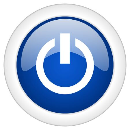 proceed: power icon, circle blue glossy internet button, web and mobile app illustration