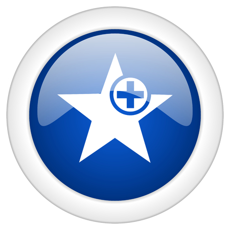 preference: star icon, circle blue glossy internet button, web and mobile app illustration