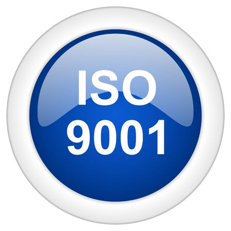 norm: iso 9001 icon, circle blue glossy internet button, web and mobile app illustration Stock Photo