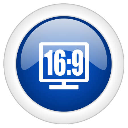 16 9 display: 16 9 display icon, circle blue glossy internet button, web and mobile app illustration