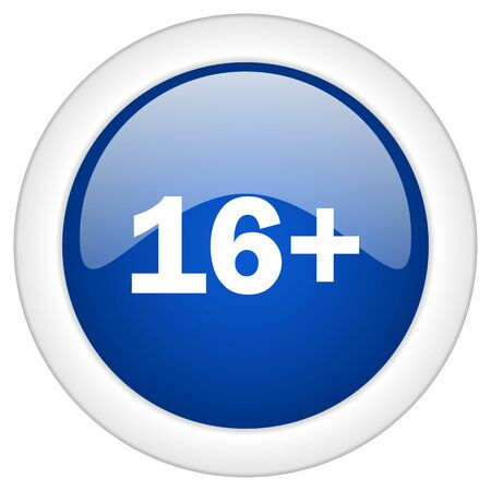 permission: adults icon, circle blue glossy internet button, web and mobile app illustration