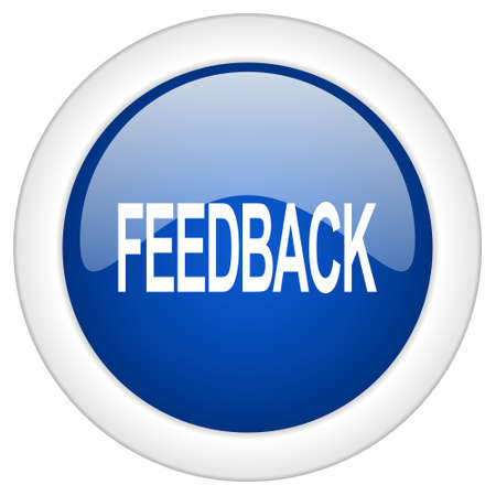 web button: feedback icon, circle blue glossy internet button, web and mobile app illustration Stock Photo