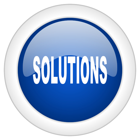 mobile solutions: solutions icon, circle blue glossy internet button, web and mobile app illustration