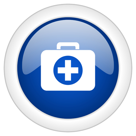 first aid kit key: first aid icon, circle blue glossy internet button, web and mobile app illustration