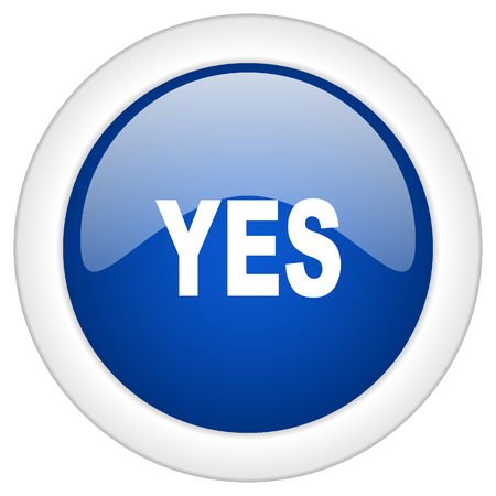 proceed: yes icon, circle blue glossy internet button, web and mobile app illustration