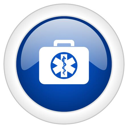 first aid kit key: rescue kit icon, circle blue glossy internet button, web and mobile app illustration