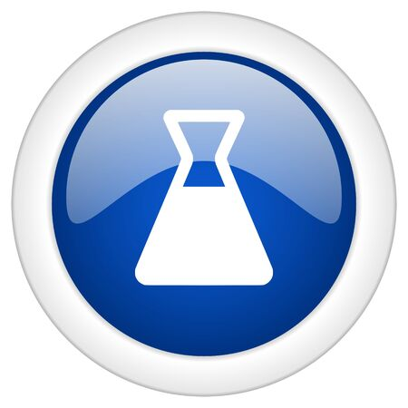 mobile internet: laboratory icon, circle blue glossy internet button, web and mobile app illustration Stock Photo