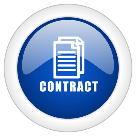pacto: contract icon, circle blue glossy internet button, web and mobile app illustration
