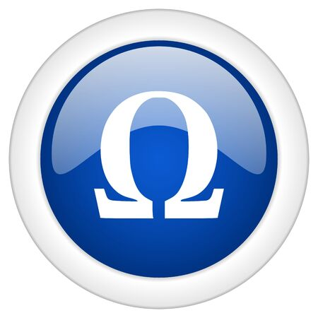 omega: omega icon, circle blue glossy internet button, web and mobile app illustration