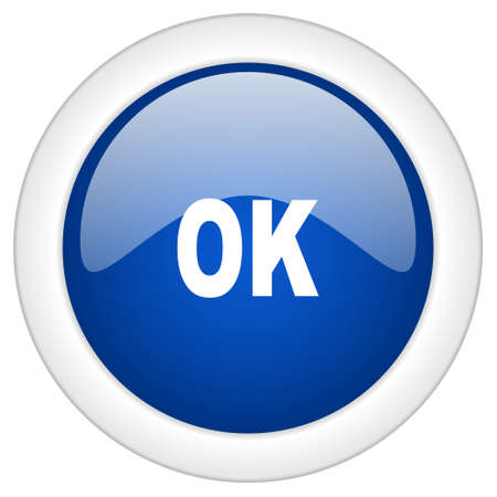proceed: ok icon, circle blue glossy internet button, web and mobile app illustration Stock Photo