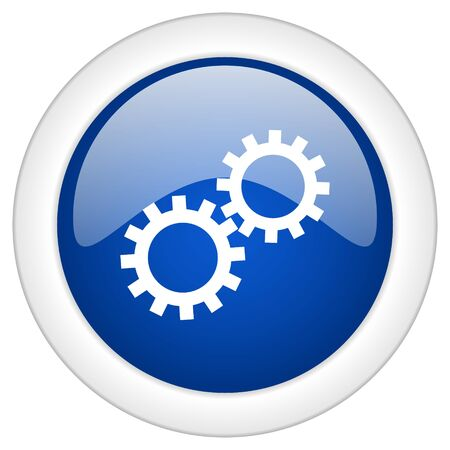 mobile internet: gear icon, circle blue glossy internet button, web and mobile app illustration Stock Photo