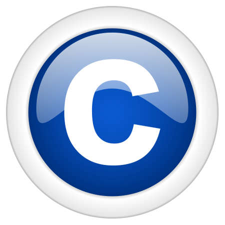 patent key: copyright icon, circle blue glossy internet button, web and mobile app illustration Stock Photo