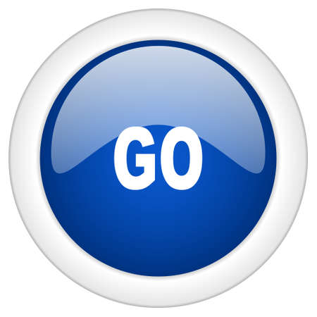 proceed: go icon, circle blue glossy internet button, web and mobile app illustration