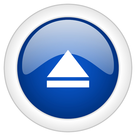 eject: eject icon, circle blue glossy internet button, web and mobile app illustration Stock Photo