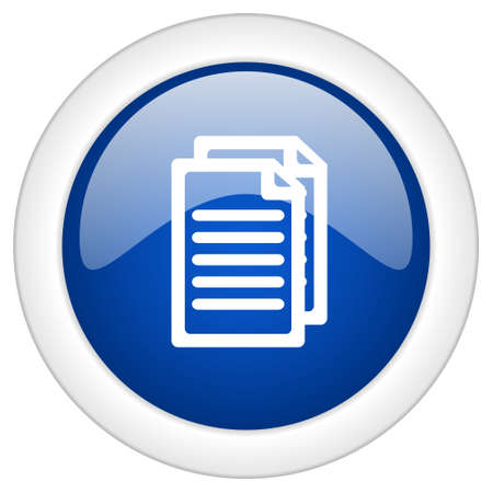 blue circle: document icon, circle blue glossy internet button, web and mobile app illustration Stock Photo