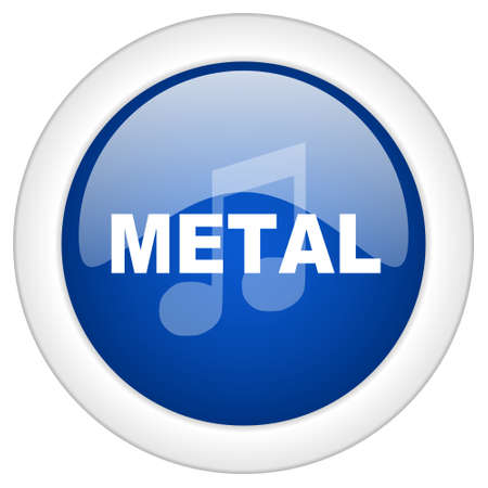 metal music: metal music icon, circle blue glossy internet button, web and mobile app illustration